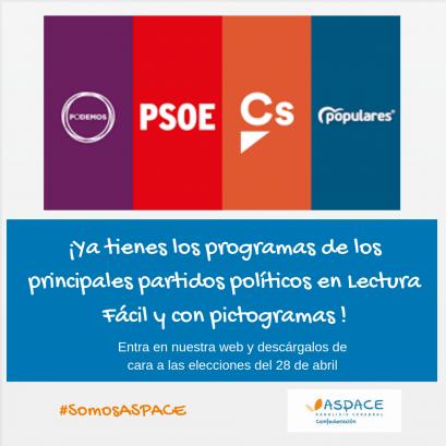 Desde Confederación ASPACE traducimos los programas de los cuatro principales partidos políticos para las elecciones 2019 en lectura fácil